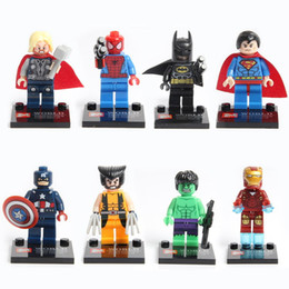 Wholesale Spiderman Toy Building - Super Hero Minifig Building Bricks Block Puzzle Toys 8pcs set Spiderman DIY Action Figure Building Blocks Educational Learning Toys for Kids