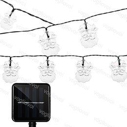 luce del porpora del giardino Sconti Solar Christmas Lights 20LED 30LED Babbo Natale String Lamp Warm White Blu Viola Colorful impermeabile Natale festa nuziale Giardino DHL