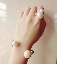 Wholesale Gold Pearl Chain Designs - Double Pearl Open Ring Bracelet for lady d BRAND Logo Fashion Design Women Party Wedding Brooches D-logo Luxury Imitation Jewelry with box