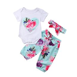 Wholesale high neck baby bodysuit - 2018 New Brand High Quality Emmababy Newborn Infant Baby Girl Floral Cotton Romper Top Bodysuit Pants Outfits Clothes