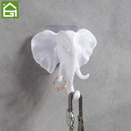 Wholesale Vintage Clothing Hangers - Vintage Animal Sticker Hook Back Door Wall Decorative Elephant Clothes Hanger Wall Mounted Key Umbrella Bag Plastic Hook