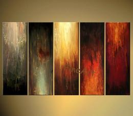 2019 pintura con vista al mar Pintura al óleo hecha a mano al por mayor colorido pintura al óleo abstracta lienzo artículos para el hogar pintura al óleo 5 paneles de pared regalo único Kungfu Arte