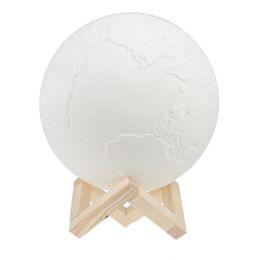 Materiales de puesta a tierra online-3D Print Earth nightlight 16 Color Led Lámpara con soporte de madera y control remoto Usb Rechargeable Night Light PLA Material blanco