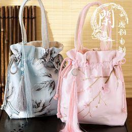 Wholesale red hanfu - Float China ancientry hanfu daily manual tassel his female bag powder blue peony peach blossom