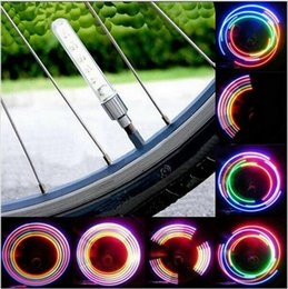 Wholesale Flash Color Wheel - New Bike Light Tyre Tire Valve Caps Lights MTB Spokes 32 color 5 LED Wheel Cycling Mountain Road Bicycle Flash Light