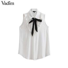 40b63512900105 Vadim women ruffled chiffon blouses bow tie collar sleeveless see through  shirts ladies white office wear tops blusas WA100