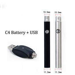 Wholesale C4 Atomizers - 510 Thread Battery C4-C with Micro USB Bottom Charge eVod 380mah Vape Batteries fit 510 Ego eCig Atomizer electronic cigarettes