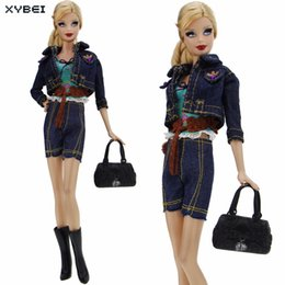 Wholesale boots coat - High Quality Outfit Jeans Wear Coat Waistcoat Belt Short Pants Handbag Boots Shoes Clothes For Barbie Doll Accessories Gift Toys