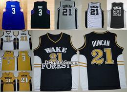 Wholesale University Blue Shirt - Wake Forest Demon Deacons College Basketball Jerseys 21 Tim Duncan 3 Chris Paul Shirts Cheap University Stitched Basketball Jersey