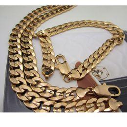 Pulseira feminina de ouro amarelo 18k on-line-Mens Womens 18 k Yellow Gold Filled Curb Pulseira Colar Martelado Correntes Conjunto de Jóias