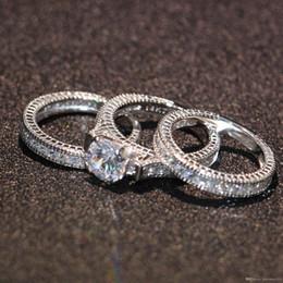 Uphot 2019 venda Quente Noivado Topázio Simulado Diamante Diamante Ouro Branco 14KT Preenchido 3 Conjuntos de Anel de casamento das mulheres presente Tamanho 5-11 de Fornecedores de anéis de noivado de ouro branco