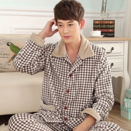 Wholesale thick nightgown - winter autumn plus size flannel pajamas thick men coral fleece pajama sets sleepwear long-sleeve long male nightgown lounge set