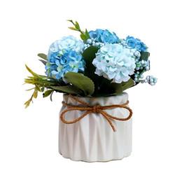 Plastica finta Rose Faux Green Grass Simulazione Fiori artificiali Piante con vasi per decorazioni per la casa (azzurro) cheap blue light plants da piante blu chiaro fornitori