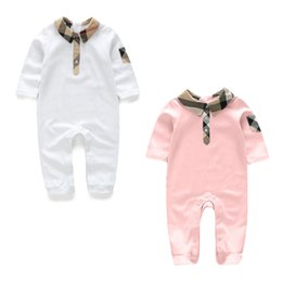 Wholesale Babies Jumpsuits - Baby Rompers 100% Cotton Long Sleeve Lattice style 2 colors Fashion Baby Girl Clothes Toddler Jumpsuits Bebe Roupas