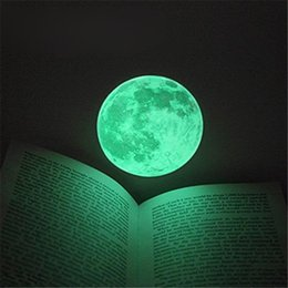 Wholesale Chinese Glass Art - Hot 30cm Large Moon Glow In The Dark Luminous DIY Wall Sticker Living Home Decor Romantic Moon Fluorescent Paste