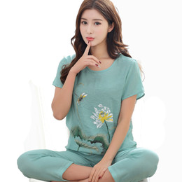 8c5a49e252 2018 Summer New Print Women Cotton Linen Pajamas Set Chinese Pyjamas Suit 2  PCS Sleepwear Flower Nightwear M L XL XXL D127-05