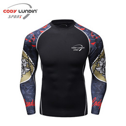 muscle 3d shirt Coupons - Muscle Men Compression Tight Skin Shirt Long Sleeves 3D Prints Rashguard Fitness Base Layer Weight Lifting Male Tops Wear