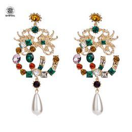 SHIFEL Neue Ankunft Occident Fashion Brand Stil Drachen und Phoenix Farbe steine Brief CC Große Ohrringe von Fabrikanten