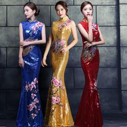 Красное китайское свадебное платье Женское длинное платье Cheongsam Gold Slim Китайское традиционное платье для женщин Qipao для вышивки свадебной вечеринки supplier embroidery cheongsam red от Поставщики вышивка cheongsam красный