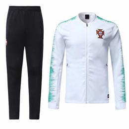 2019 blanco ropa deportiva 2018 2019 Portugal Chandal de chaqueta blanco y rojo 18/19 World Cup de Futbol RONALDO Uniforme de chaqueta de fútbol Maillot de Foot sportswear blanco ropa deportiva baratos