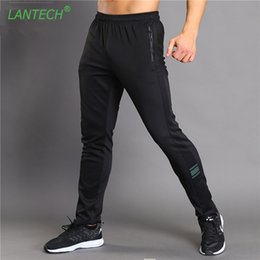Wholesale Men Exercise Clothes - LANTECH Men Pants Running Jogging Joggers Training Sports Sportswear Fitness Exercise Gym Elastic Pants Clothes Zipper