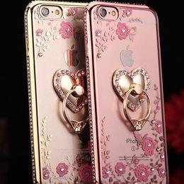 diamante de manzana Rebajas Bling Bling de lujo titular de anillo de diamante caja del teléfono Secret Garden Crystal Tpu casos cubierta para iphone x 8 7 6 6 s plus samsung s9 plus