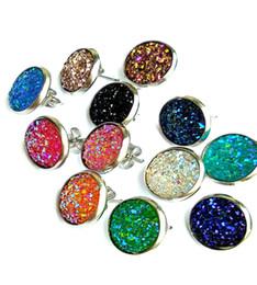 orecchini di orecchini druzy tondi fatti a mano orecchini alla moda semplici orecchini in acciaio inossidabile tono trendy per le donne regalo gioielli da