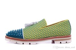 Argentina Talla 39-46 de hombre de gamuza amarilla blanco borla de cuero genuino con puntas azules del dedo del pie del resbalón en los holgazanes de la suela del neumático, zapatos de vestir de la marca Gentleman Suministro