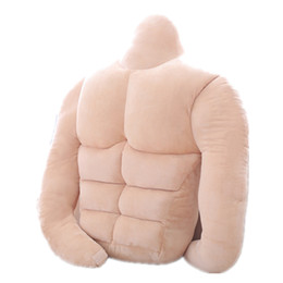 Wholesale gifts for gf - Dorimytrader Creative Boyfriend Muscle Plush Pillow Big Stuffed Soft Realistic Chest Muscles Cushion Toy for Gf Gift 65x40cm DY50226