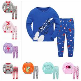 3bcc1e2a10 Pijamas de algodón para niños Conjunto Ropa de Bebé de Navidad Niña  Invierno Cálido Flamenco Ropa Muñeco de nieve Dinosaurio Estampado Niños  Trajes de ...