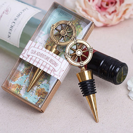 Wholesale Wine Shipping Boxes Wholesale - Creative Wedding Favors and Gifts for Guests Rudder Compass Metal Alloy Red Wine Bottle Stopper with Box Party Decoration free shipping