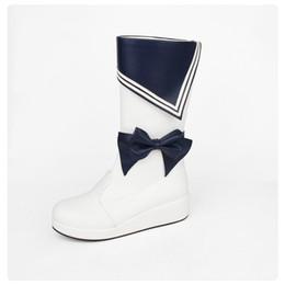 calcanhares médios da marinha Desconto Doce Meninas Lolita Russa Botas Sapatos Estilo Marinha Borboleta-Nó de Inverno Cunha Saltos Botas De Couro Mulheres Punk Plataforma