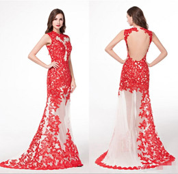 Wholesale Traditional Chinese Robes - Red Lace Real Picture See Through Evening Dresses Traditional Chinese Tulle Appliques Sleeveless Robe De Soiree Cheap Long Party Prom Gowns