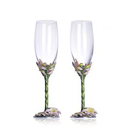Lilienkristall online-Emaille Farbe Champagne Crystal Cup Hochzeitsgeschenk Becher Anzug Lily Tumbler Farbe Lily Diamond Legierungsüberzug Crystal Glass Set