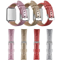 наручные часы магазин Скидка Bling Флэш-порошок кожаный браслет для Apple Watch мягкая замена ремешок для часов металлические часы пряжки с кожей для iwatch 1 2 3 4 OPP мешок