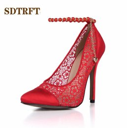 wholesale Stilettos zapatos mujer 12cm thin high heels Pointed Toe Pearl  Ankle Strap shoes woman sexy Lady Bridal pumps Plus 35-43 2bf695126621