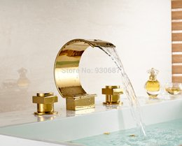 Wholesale Tall Sink Faucets - Tall Gold plate Bath Vessel Sink Faucet Deck Mount Dual Handles Mixer Tap