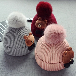 New baby child red pink hair hat wool bear hair ball thickening hat autumn  and winter hat 691a81b9fa74