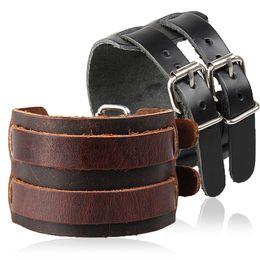 Leder breites armband für männer online-Cowboy Style Armband 5 Style Strap Double Wide Wrap Lederarmband Schnalle Armband Männer Manschette Armbänder Punk Schmuck G276S