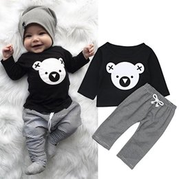 bear cartoon t shirts Promo Codes - Newborn Infant Baby Boys Girls Autumn Winter Lovely Sets 2PCS Long Sleeve Cartoon Bear Print Black T-Shirts Tops+Striped Pants