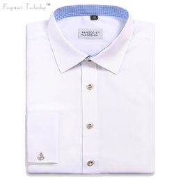 Wholesale Usa French - USA   International Sizing Redesigned Men's Non-Iron Milano Fit Patched Collar French Cuff White Formal Business Dress Shirt