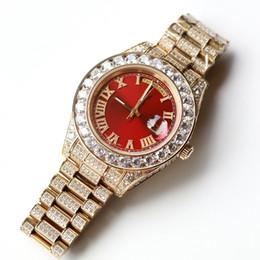 Pietre di data online-Full Diamond Gold Luxury Watches Uomo 43MM Big Stones Lunetta 316L Day Sweep Automatic Date Watch Alta qualità Set Diamond Brand Orologio da polso