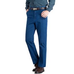calças homens tamanho barato Desconto Verão Fino Elástico Homens Clássico Calças De Cintura Alta Baggy Azul Preto Masculino Denim Calças Trecho Jeans Baratos Plus Size 38 39 40