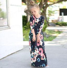 Çocuklar Bebek Kız Moda Uzun Maxi Elbise Giyim Uzun Kollu Çiçek Elbise Bebek Bohemian Yaz Çiçek Prenses elbise KKA4375 nereden bebek bebek kostümleri tedarikçiler