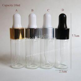 Wholesale Empty Dropper Bottles Glass Clear - 50pcs lot 10ml Empty Glass Essential Oil Dropper Bottle 1 3oz Drop Liquid Pipette jars 1 3oz Clear Cosmetic Packaging