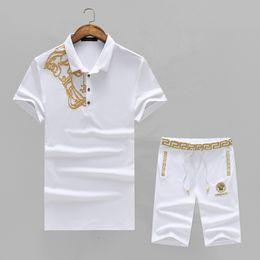 Wholesale Short Sleeve Summer Cardigans - Sportsuits gym sports suits men's sets designer shirts Men fashion 2018 Summer Short tracksuits joggers jogging pants down