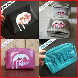 Wholesale pink sliver - Brand bags Cosmetics Birthday Edition Pink i want it all Make up Storage Bag Sliver holiday black green makeup bags