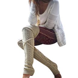 Canada Hiver Tricoté Crochet Genou Longue Bas Femmes Sexy Cuisse Haut Bas Rester Jambières Jambières Boot Legging Collant Femme Offre