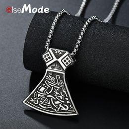 Vintage Viking Battle Axe Necklace Mens Fashion Stainless Steel Amulet Pendant Necklaces Charm Jewelry Gifts 2019 Pendant Necklaces Necklaces & Pendants