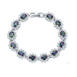 Wholesale Mystic Fire Jewelry - Newest Special Gift Natural Fire Oval Rainbow Mystic Topaz Gems 925 Sterling Silver Plated Chain Bracelets Bangles Russia Bracelet Jewelry